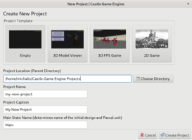 Castle Game Engine Editor New Project