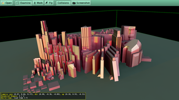 View in view3dscene city model exported from Maya. Model By Keenan Crane | From http://opengameart.org/content/abstract-city
