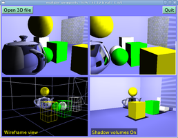 Multiple viewports, interactive scene, shadow volumes and cube-map reflections