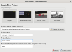Castle Game Engine Editor New Project - State Events
