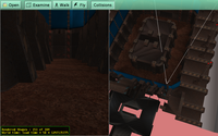 Tremulous ATCS in VRML, with 2 viewports and frustum visualized in right viewport