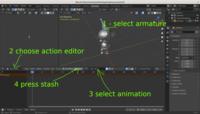 Stashing animations in Blender