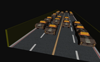 Cars, surrounded by a wall build in code