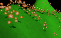 Flowers bending under the wind, transformed on GPU in object space