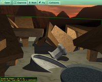 The same fountain level model, with shadow volumes. After some interactive fun with moving/rotating stuff around :)