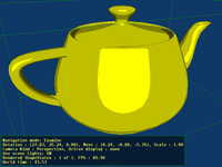 Teapot X3D model rendered with toon shading in GLSL