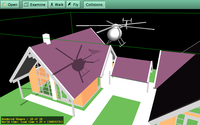 Shadow volumes from chopper over a house scenery. Chopper can be moved, rotated, scaled by mouse.