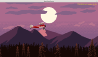 Plane flying on the mountain background - game