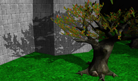 Close up shadows on the tree. Notice that leaves (modeled by alpha-test texture) also cast correct shadows.