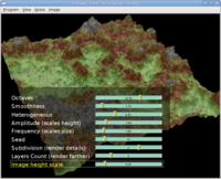 "Terrain parameters (from engine ""terrain"" demo) are also an on-screen menu"