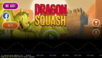 Dragon Squash title screen and it's game balance equation designed in CastleScript