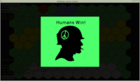 Strategy game demo - humans victory screen, designed using Castle Game Engine Editor