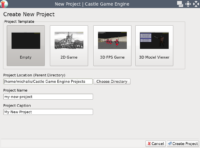 Castle Game Engine editor - New Project dialog