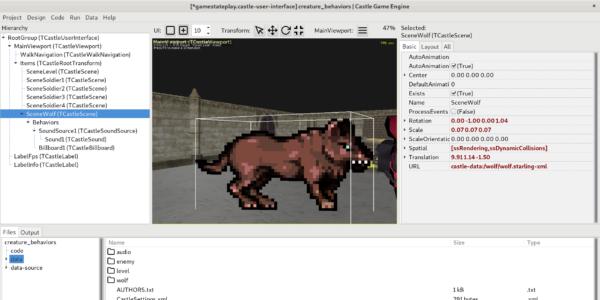 Design: Werewolf, from a sprite sheet, is also a billboard and emits a 3D sound