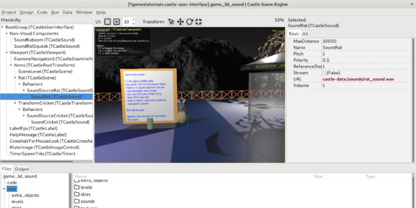 Example 3D game with spatial sounds - TCastleSound